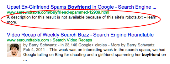 google snippet blocked robots txt